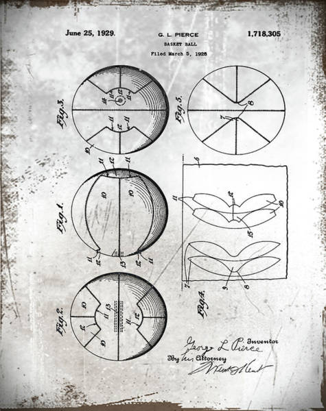 Photograph - Gl Pierce Basketball Patent 1929 In Aged by Digital Reproductions