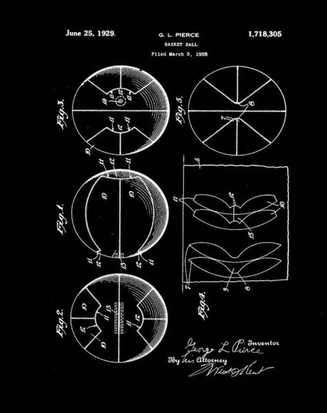 Photograph - Gl Pierce Basketball Patent 1929 In Black by Digital Reproductions