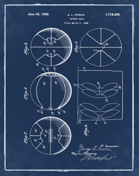 Photograph - Gl Pierce Basketball Patent 1929 In Blue by Bill Cannon