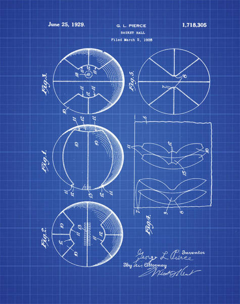 Photograph - Gl Pierce Basketball Patent 1929 In Blue Print by Bill Cannon