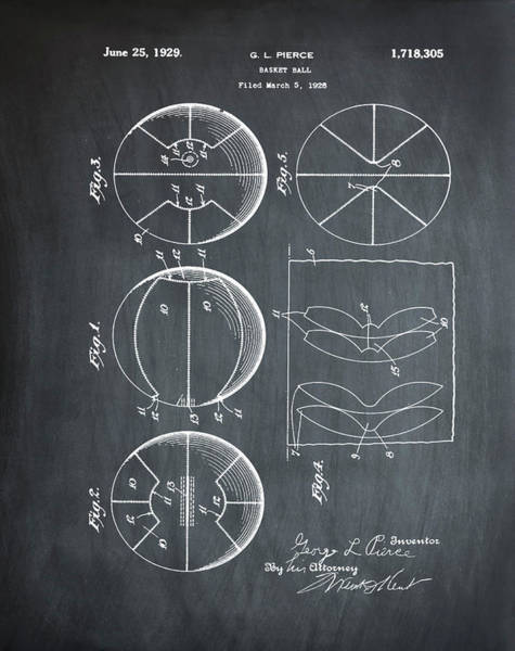 Photograph - Gl Pierce Basketball Patent 1929 In Chalk by Bill Cannon