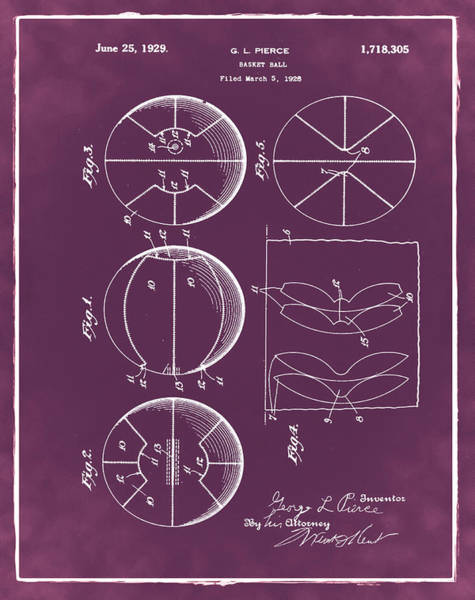 Photograph - Gl Pierce Basketball Patent 1929 In Red by Digital Reproductions