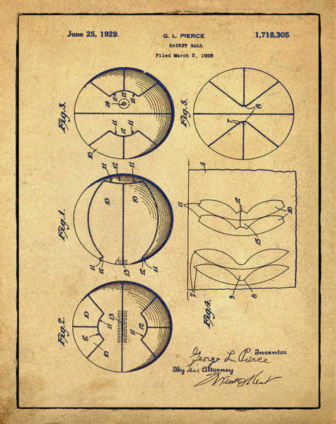 Photograph - Gl Pierce Basketball Patent 1929 In Sepia by Bill Cannon