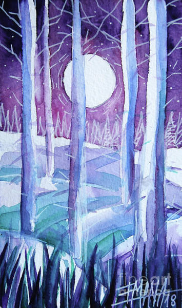 Wall Art - Painting - Glacial Forest - Winterscape Watercolor - Mona Edulesco  by Mona Edulesco