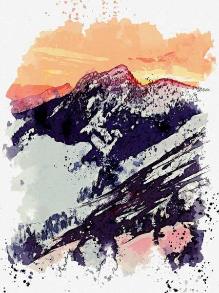 Painting - Glacier Dawn Red Sky Sunset Watercolor By Ahmet Asar by Ahmet Asar