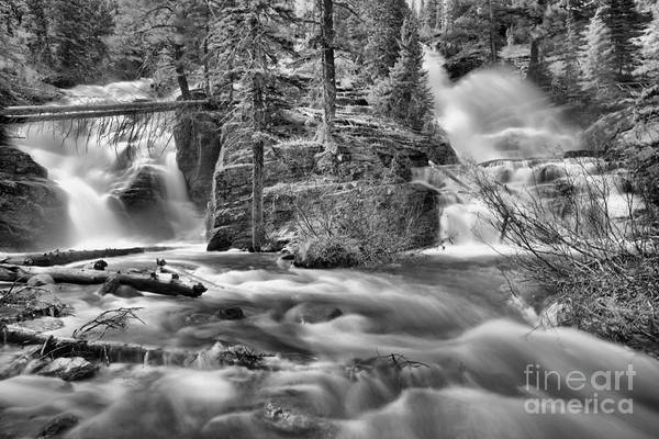 Photograph - Glacier Park Twin Falls Black And White by Adam Jewell