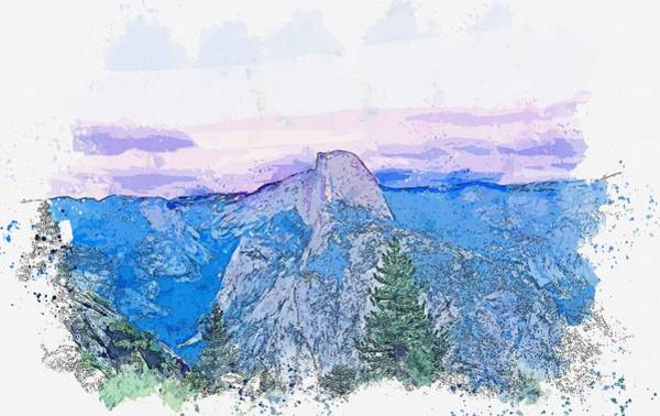 Painting - Glacier Point, Yosemite Valley, United States -  Watercolor By Adam Asar by Adam Asar