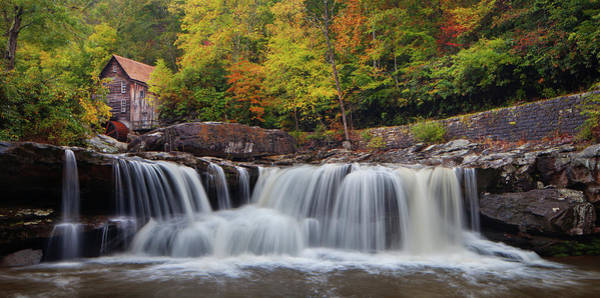 Photograph - Glade Creek Grist Mill And Cascade by Dennis Sprinkle