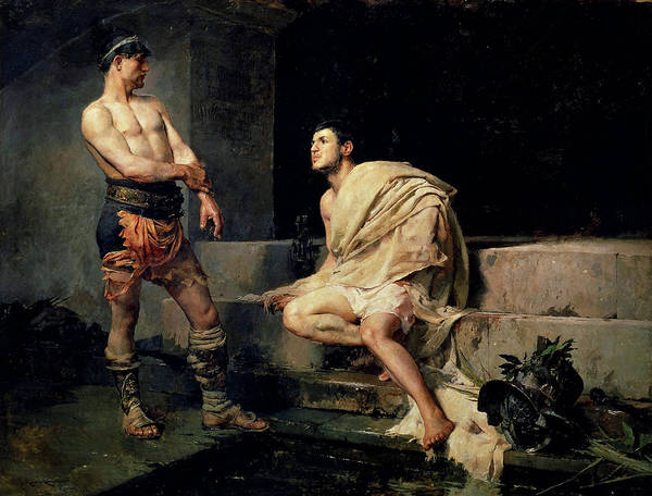 Painting - Gladiators After Combat  by Jose Moreno Carbonero