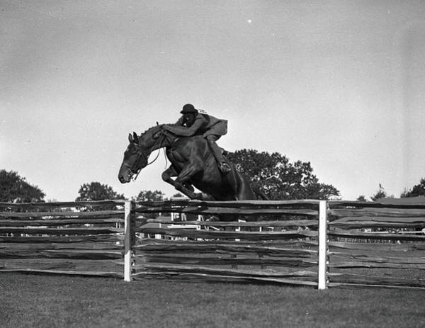 Socialite Photograph - Gladys Hopkins Whitney Jumps Bogdam by Bert Morgan