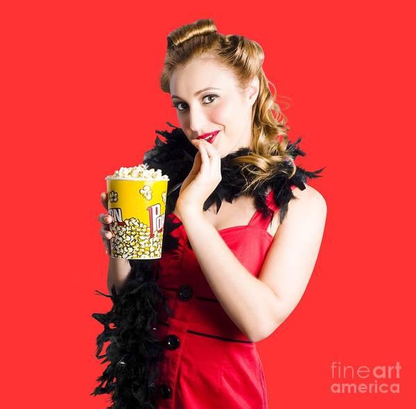 Wall Art - Photograph - Glamorous Woman Holding Popcorn by Jorgo Photography - Wall Art Gallery