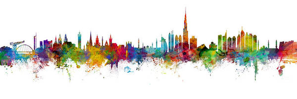 Wall Art - Digital Art - Glasgow And Dubai Skyline Mashup by Michael Tompsett