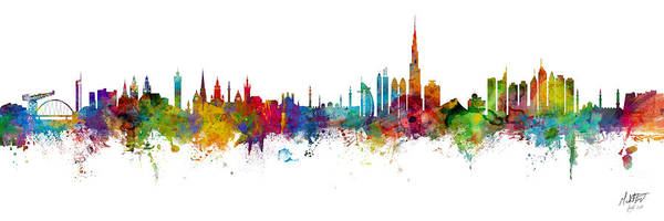 Wall Art - Digital Art - Glasgow And Dubai Skyline Mashup Signed by Michael Tompsett