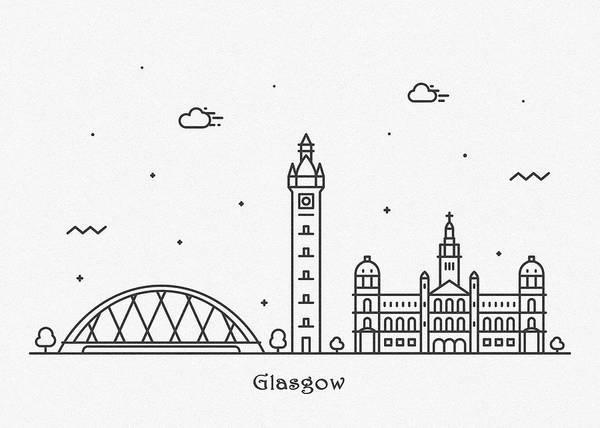 Landmark Center Drawing - Glasgow Cityscape Travel Poster by Inspirowl Design