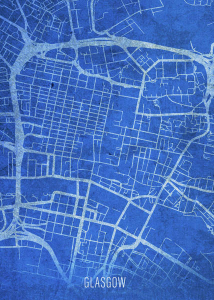 Wall Art - Mixed Media - Glasgow Scotland City Street Map Blueprints by Design Turnpike