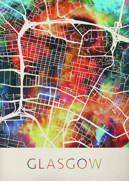 Wall Art - Mixed Media - Glasgow Scotland United Kingdom Watercolor City Street Map by Design Turnpike