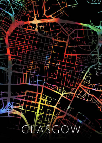 Wall Art - Mixed Media - Glasgow Scotland Watercolor City Street Map Dark Mode by Design Turnpike