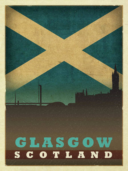 Wall Art - Mixed Media - Glasgow Scotland World City Flag Skyline by Design Turnpike