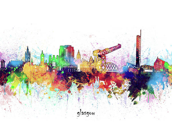 Wall Art - Digital Art - Glasgow Skyline Artistic by Bekim M