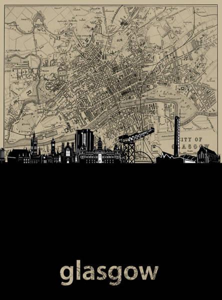 Wall Art - Digital Art - Glasgow Skyline Map by Bekim M