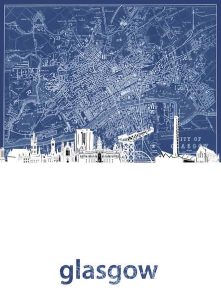 Wall Art - Digital Art - Glasgow Skyline Map Blue by Bekim M