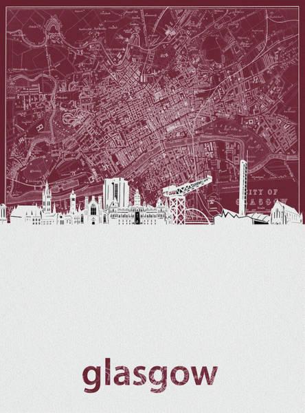 Wall Art - Digital Art - Glasgow Skyline Map Red by Bekim M