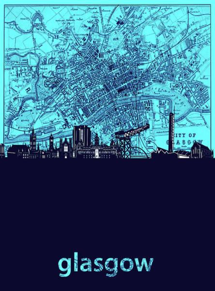 Wall Art - Digital Art - Glasgow Skyline Map Turquoise by Bekim M