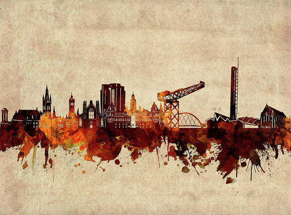 Wall Art - Digital Art - Glasgow Skyline Sepia by Bekim M