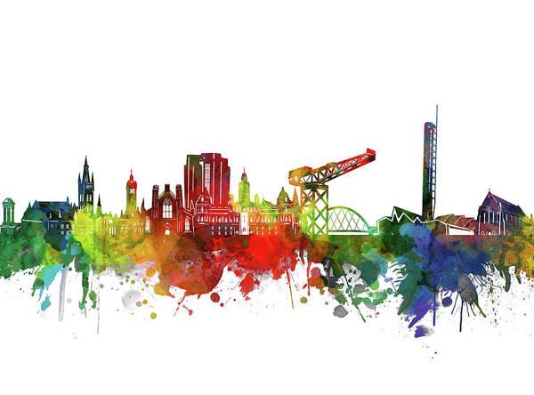 Wall Art - Digital Art - Glasgow Skyline Watercolor 2 by Bekim M