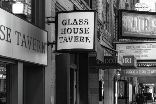 Photograph - Glass House Tavern Sign Black And White by Sharon Popek