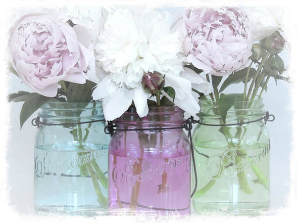 Wall Art - Mixed Media - Glass Jars And Peonies No. 3537 by Sherry Hallemeier