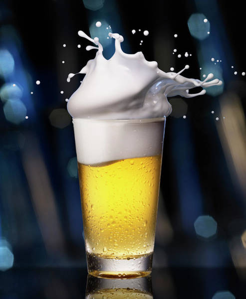 Alcohol Photograph - Glass Of Beer With Splashing Foam by Jack Andersen