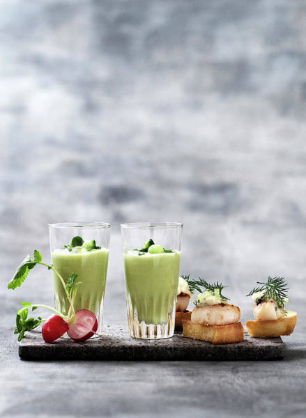 Vertical Line Photograph - Glass Of Pea Soup And Scallop Canapes by Line Klein