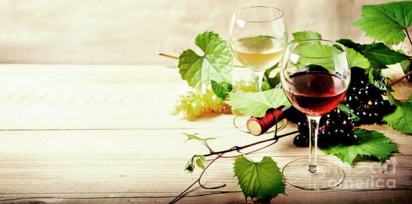 Wall Art - Photograph - Glass Of Red And White Wine, Bottle And Grape Vine On Vintage Wo by Jelena Jovanovic