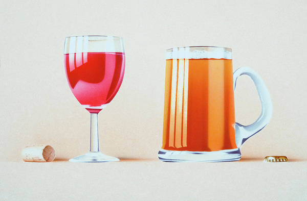 Object Digital Art - Glass Of Red Wine, Cork, Glass Of Beer by Dorling Kindersley