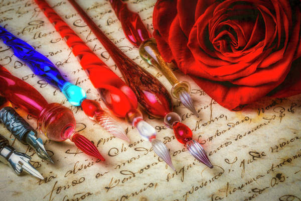 Wall Art - Photograph - Glass Pens And Red Rosa by Garry Gay
