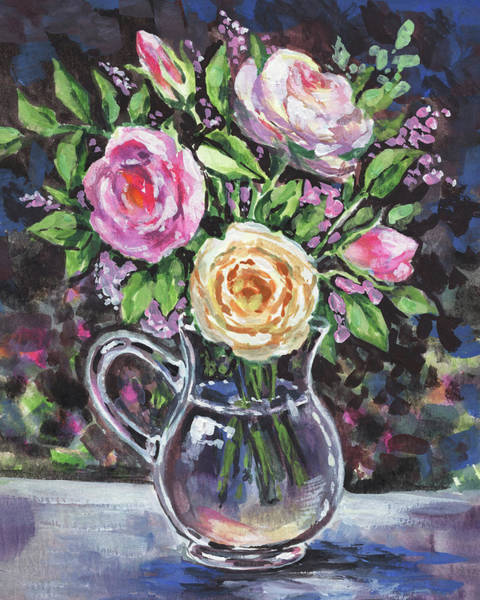 Pitcher Painting - Glass Pitcher With Pink And Yellow Roses Impressionism  by Irina Sztukowski