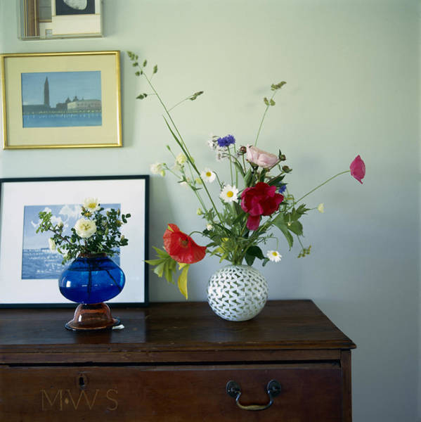 Drawers Photograph - Glass Vases Of Rose Rosa And by Richard Felber
