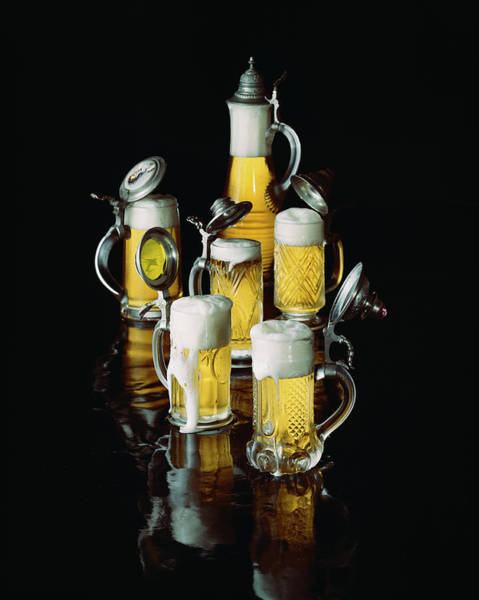 Beer Photograph - Glasses Of Beer With Froth, Close-up by Tom Kelley Archive