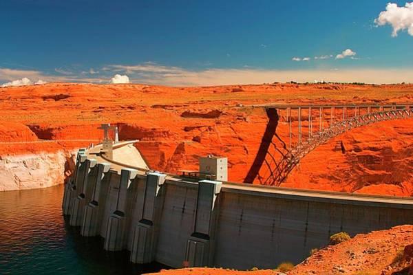 Wall Art - Photograph - Glen Canyon Dam And Bridge, Page by Myloupe/uig