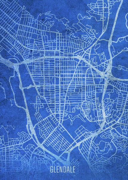 Wall Art - Mixed Media - Glendale California City Street Map Blueprints by Design Turnpike