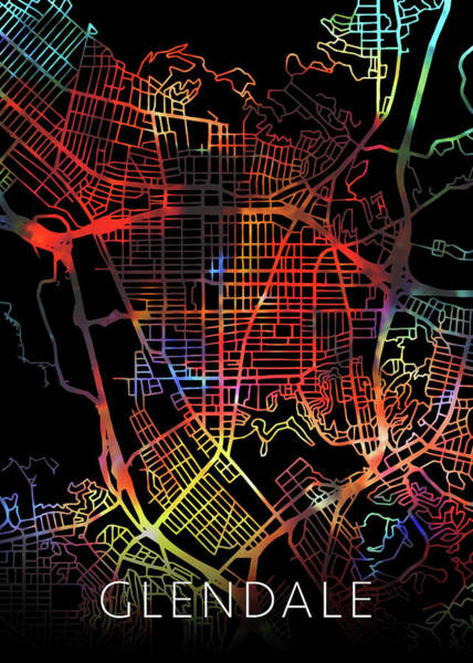 Glendale Wall Art - Mixed Media - Glendale California Watercolor City Street Map Dark Mode by Design Turnpike