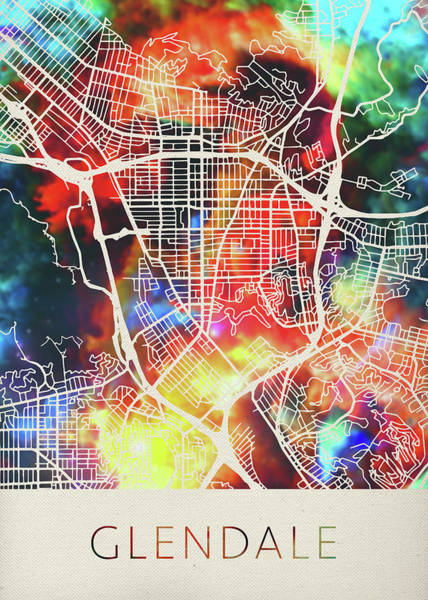 Glendale Wall Art - Mixed Media - Glendale California Watercolor City Street Map by Design Turnpike