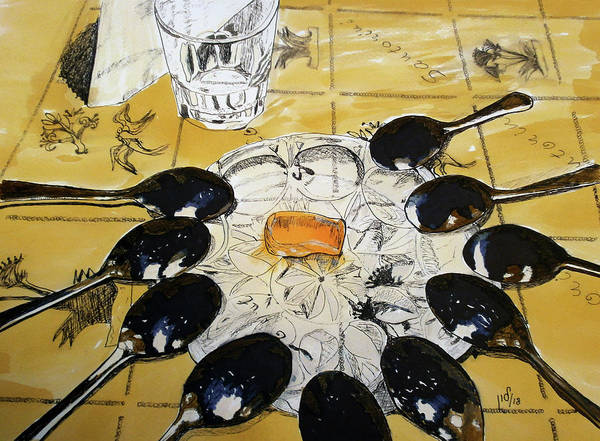 Restaurant Decor Drawing - Gliko Koutaliou-still Life by Maria Woithofer