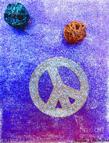 Prb Mixed Media - Glitter Peace by Pamula Reeves-Barker