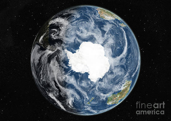Photograph - Globe Centered On The South Pole by PlanetObserver