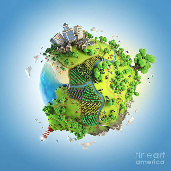 Iconic Digital Art - Globe Concept Showing A Green, Peaceful by Pablo Scapinachis