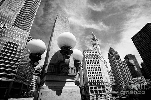 Wall Art - Photograph - globe lights and architectural feature on lower wacker drive Chicago IL USA by Joe Fox