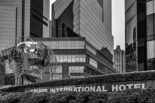 Photograph - Globe Sculpture At Trump Hotel Bw by Susan Candelario