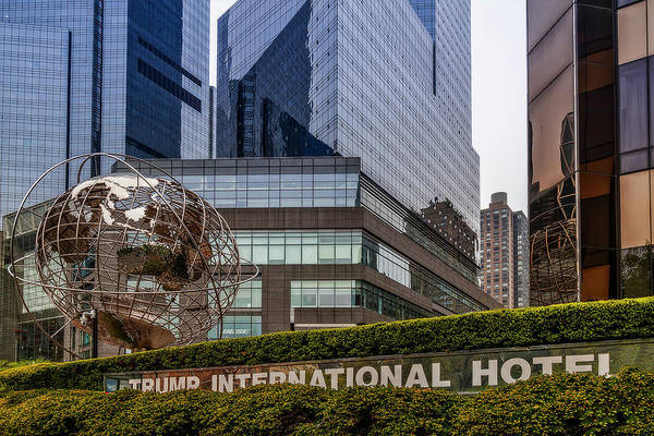 Photograph - Globe Sculpture At Trump Hotel by Susan Candelario